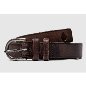 STONE LEATHER BELT - BROWN